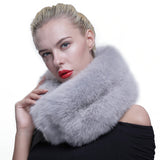 Women's Knitted Authentic Fox Fur Cowl Scarf