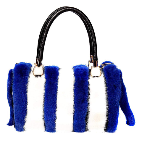 Mink Fur with Leather Accents Barrel Bag