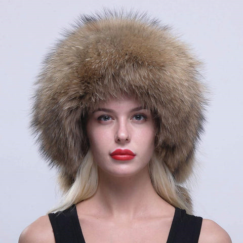 Raccoon Fur Russian Ushanka Trapper Hat Cap