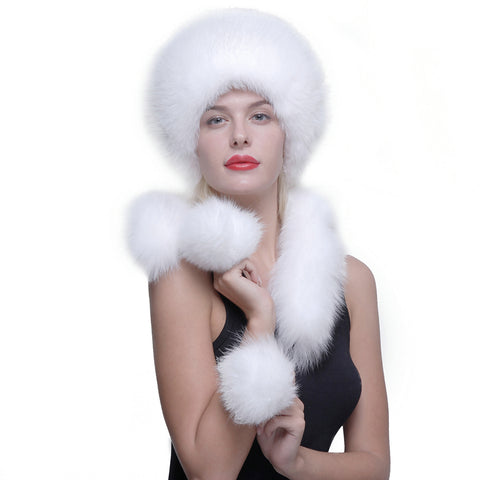 Fox Fur Roller Hat with Rabbit Top Fox Ear Flap Pom Pom