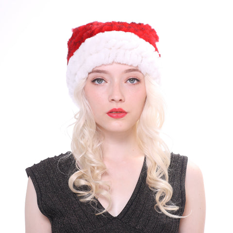 Christmas Rabbit Fur Hats with Pompom