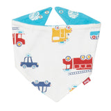 Rescue reversible bib with fire engine, ambulance and police car one side and a fun space print the other side. The Little Owl's Nest Children's Clothing