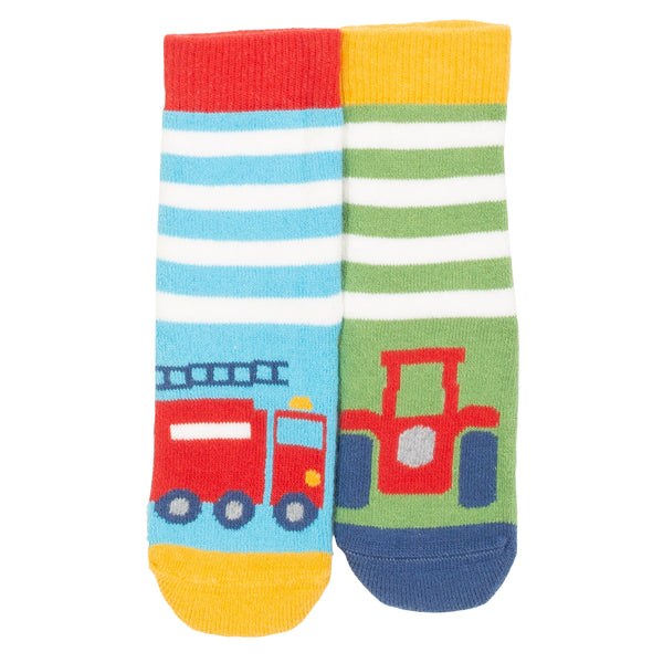 Rescue 2pk grippy socks featuring a fire engine and a tractor. The Little Owl's Nest Children's Clothing