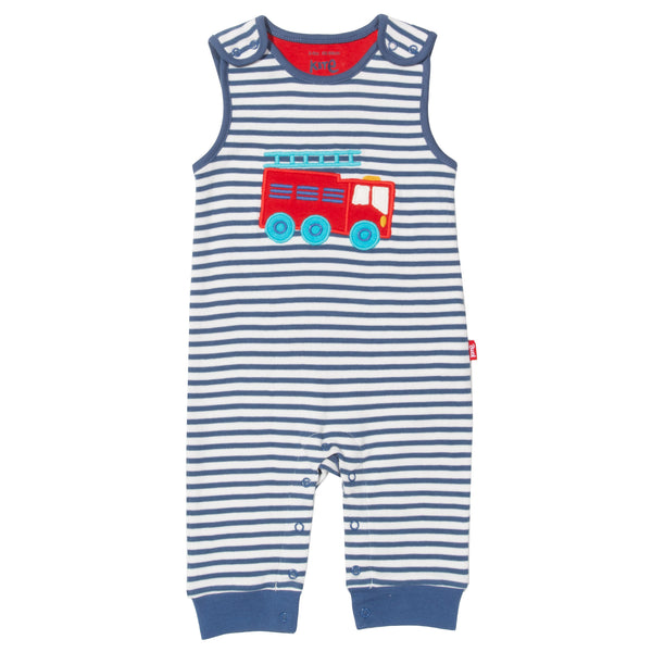 Rescue striped dungarees with fire engine applique. The Little Owl's Nest Children's Clothing