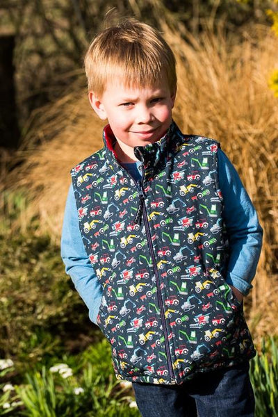 Reversible Gilet - Mini Machines. The Little Owl's Nest Children's Clothing