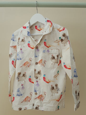 Game Bird Button Thru PJs. The Little Owl's Nest Children's Clothing