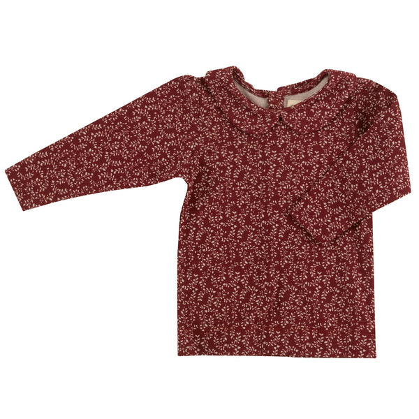 Red Leaf Print Top with Peter Pan Collar. The Little Owl's Nest Children's Clothing