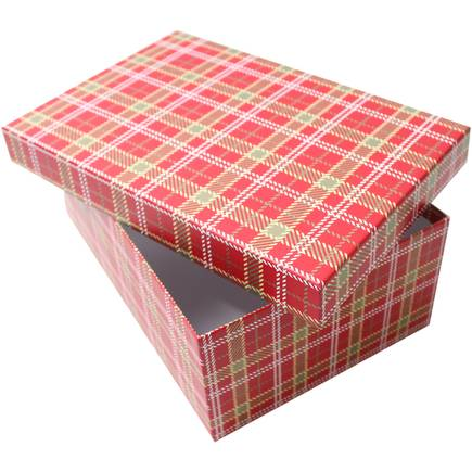 Tartan design Christmas gift box. The Little Owl's Nest Children's Clothing