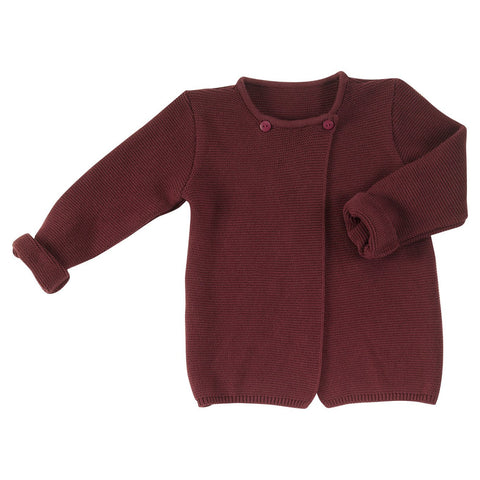Eggplant cross over cardigan. The Little Owl's Nest children's clothing