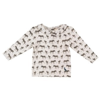 Zebra printed, peter pan collared, jersey top. The Little Owl's Nest Children's Clothing