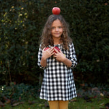 Ruffle neck black gingham Dress. The Little Owl's Nest Children's Clothing