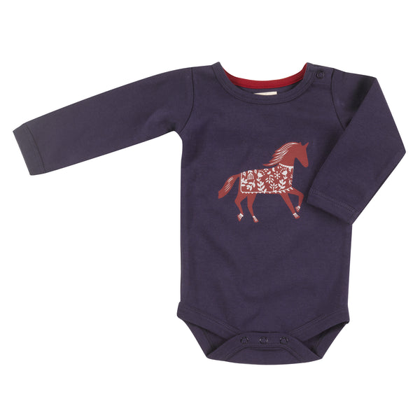 Long sleeve horse print bodysuit. The Little Owl's Nest Children's Clothing