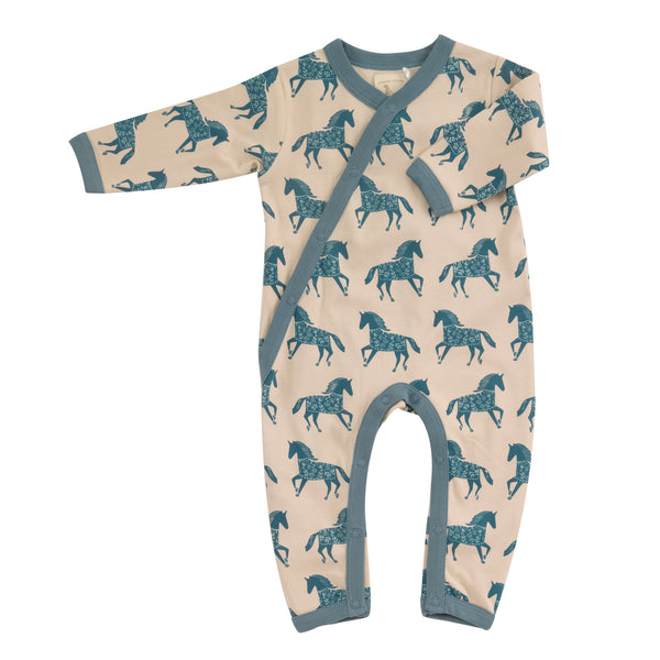Horse print sleepsuit in marlin. The Little Owl's Nest Children's Clothing