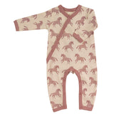 Horse print sleepsuit in rose. The Little Owl's Nest Children's Clothing
