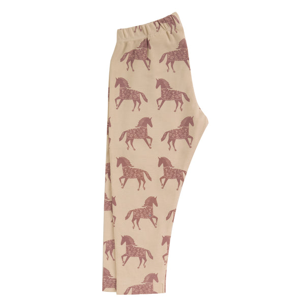 Horse print leggings in rose. The Little Owl's Nest Children's Clothing