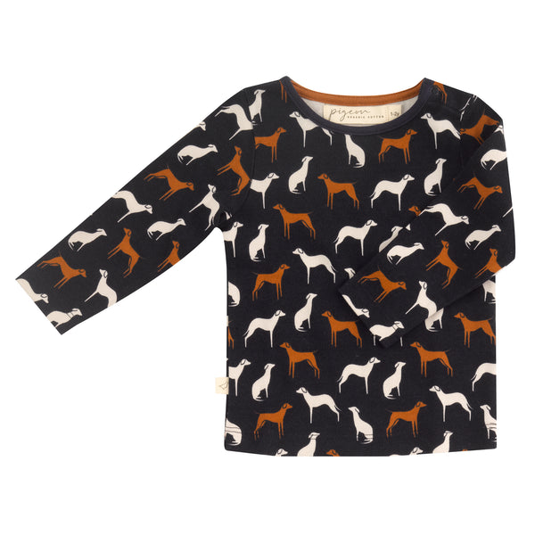 Navy dog print top. The Little Owl's Nest Children's Clothing