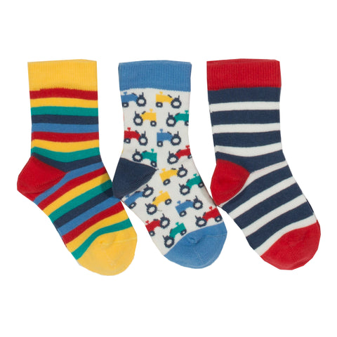 3pk Tractor Socks. The Little Owl's Nest Children's Clothing