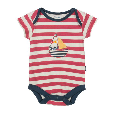 Striped Bodysuit with sail boat applique. The Little Owl's Nest Children's Clothing