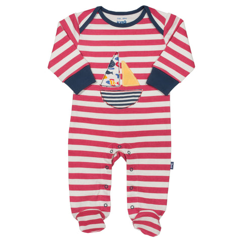 Striped sleepsuit with sail boat applique. The Little Owl's Nest Children's Clothing