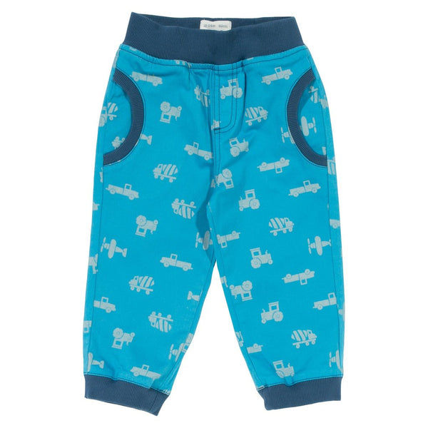 Transport printed pull up Trousers. The Little Owl's Nest Children's Clothing