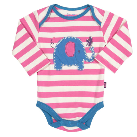 Pink and white stripy elephant bodysuit from Kite Clothing at The Little Owls Nest.