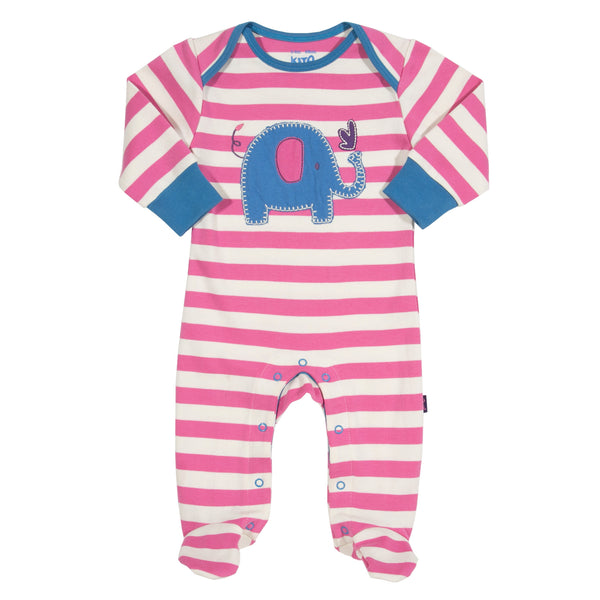 Pink and white stripy elephant sleepsuit from Kite Clothing at The Little Owls Nest.