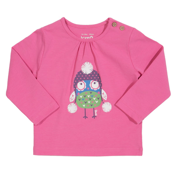 Pink t-shirt with owl and pom poms from Kite Clothing at The Little Owls Nest.