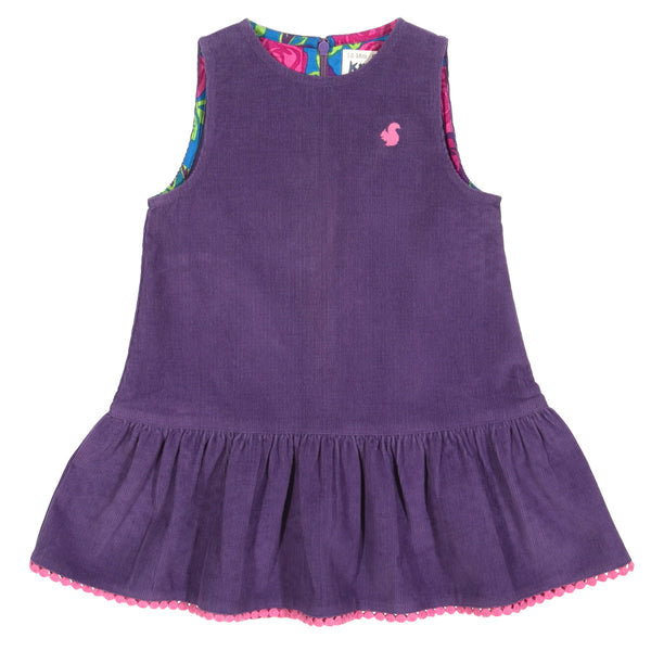 Purple pom-pom cord pinafore from Kite Clothing at The Little Owls Nest.
