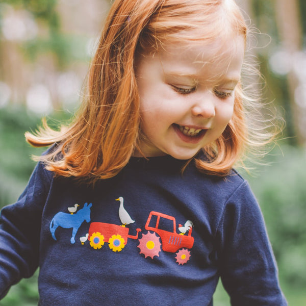 Long sleeved Farmyard Tee. The Little Owl's Children's Clothing