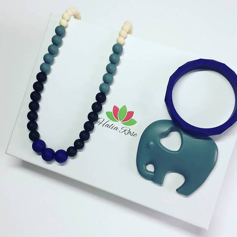 Mum and Baby Teething Gift set in Blue