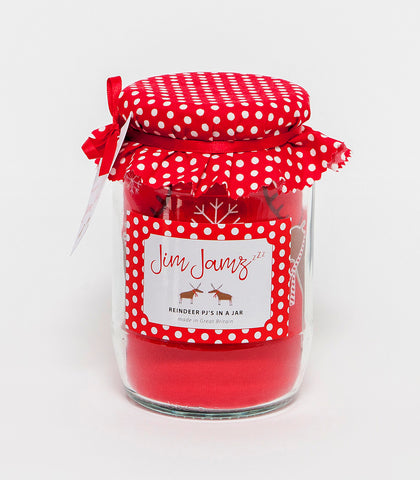 Red Reindeer printed Jim Jamz in a jar. The Little Owl's Nest Children's Clothing