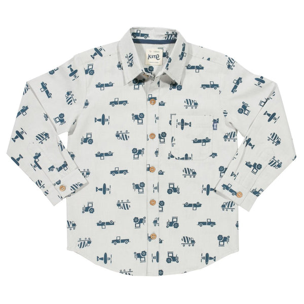 All over transport printed Shirt. The Little Owl's Nest Children's Clothing