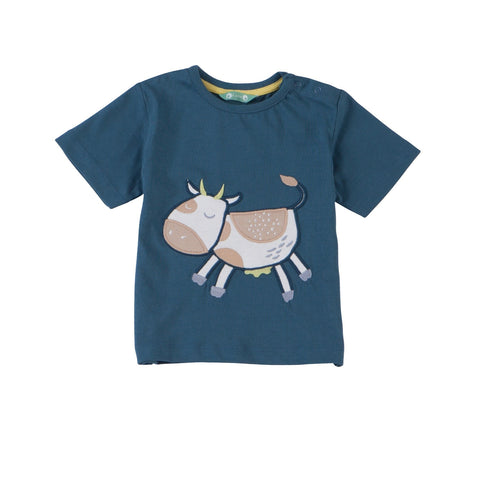 Cow appliqué short sleeve T-Shirt. The Little Owl's Nest children's clothing