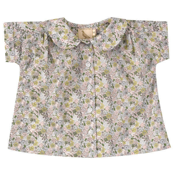 Spring ditsy print peter pan collared blouse. The Little Owl's Nest Children's Clothing