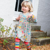 Pretty Pony Dress with Stripey Tights. The Little Owl's Nest Children's Clothing