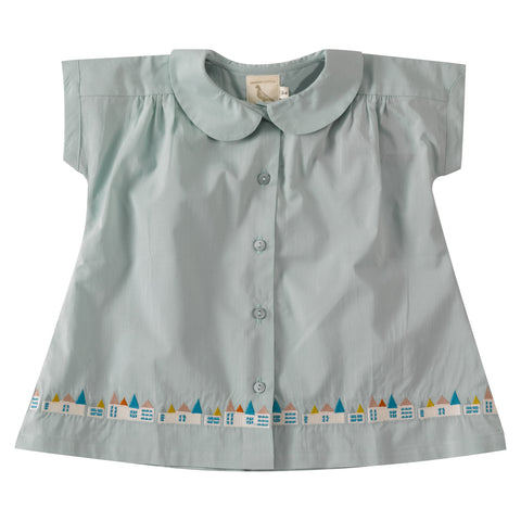 Blue Embroidered Hem Blouse. The Little Owl's Nest Children's Clothing