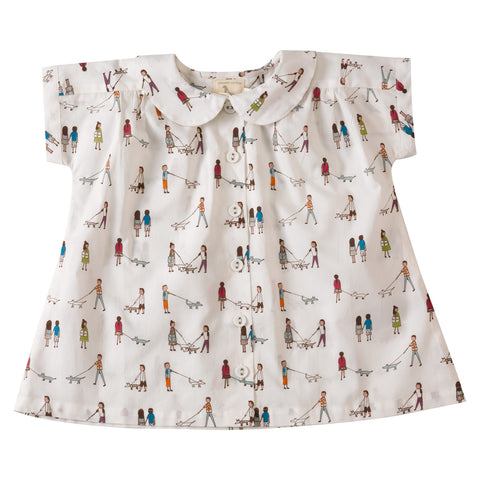 Dog Walkers printed Blouse. The Little Owl's Nest Children's Clothing