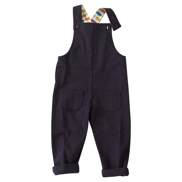 Slouchy Dungaree with Van print. The Little Owl's Nest Children's Clothing