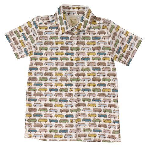 Campervan printed short sleeve jersey shirt. The Little Owl's Nest Children's Clothing