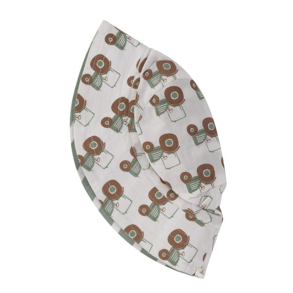 Reversible Tractor Print Sun Hat. The Little Owl's Nest Children's Clothing