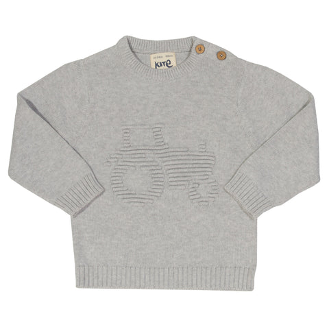 Grey Knitted tractor jumper. The Little Owl's Nest Children's Clothing