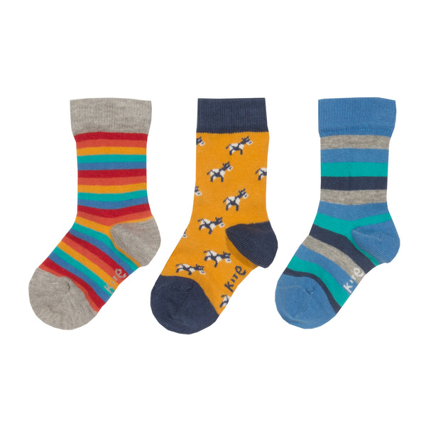 3pk Moo Socks. The Little Owl's Nest Children's Clothing