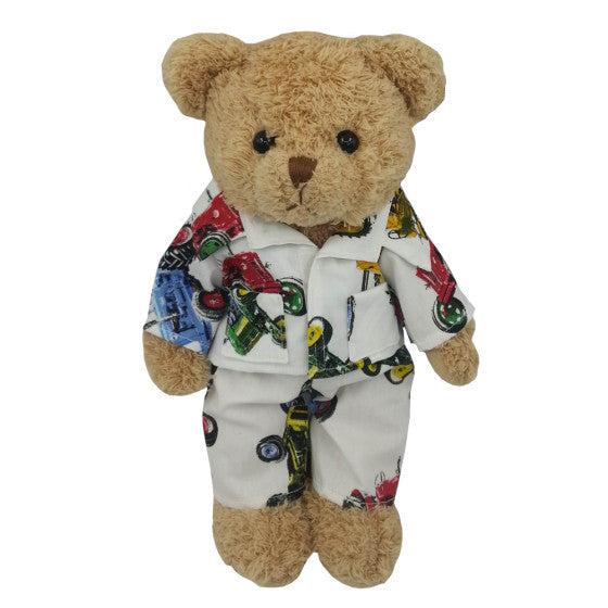Bertie the teddy bear in tractor pjs from Powell Craft at The Little Owls Nest.