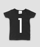 Black T-shirt with no.1 in white print. The Little Owl's Nest Children's Clothing