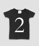 Black T-shirt with no.2 in white print. The Little Owl's Nest Children's Clothing