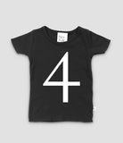 Black T-shirt with no.4 in white print. The Little Owl's Nest Children's Clothing