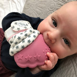 Pink and Blue Teething Mitts. The Little Owl's Nest Children's Clothing