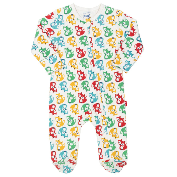 Rainbow Fox Print Sleepsuit. The Little Owl's Nest Children's Clothing