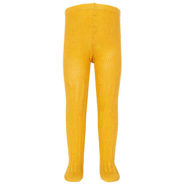 Mustard Cable Knit Tights. The Little Owl's Nest Children's Clothing
