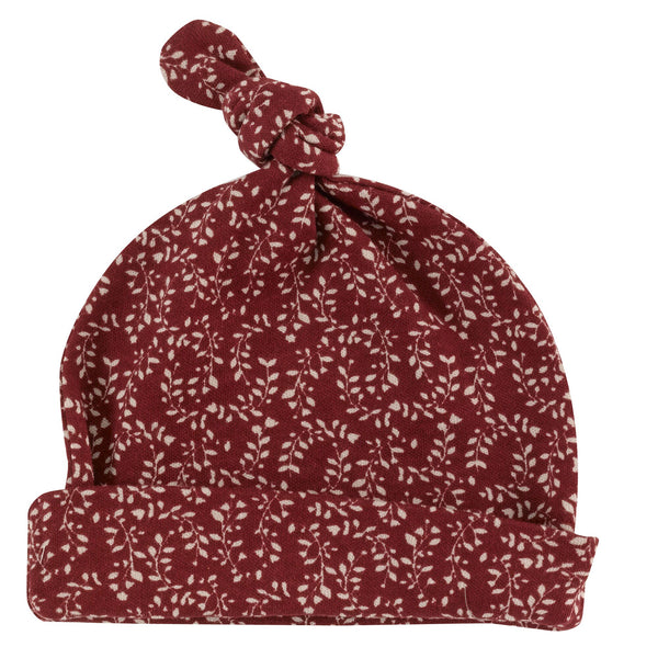 Red Leaf Print Jersey Hat. The Little Owl's Nest Children's Clothing